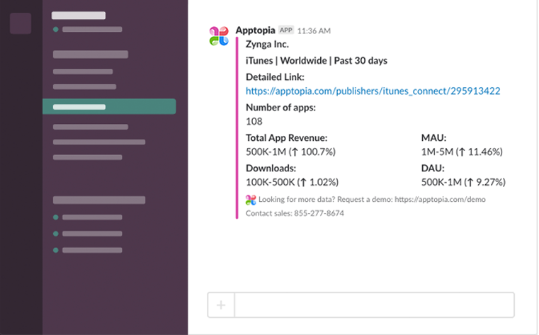 Apptopia for Slack Screenshot